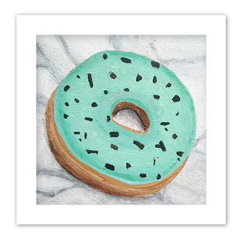 mint chip donut painting